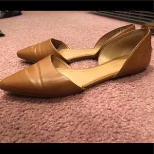 J Crew Tan Camel Leather Pointy Toed Flats